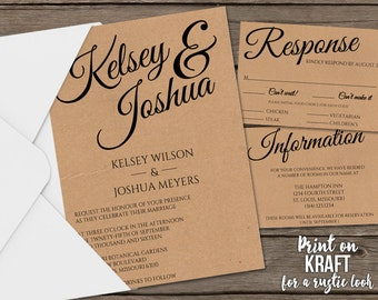 Printable Wedding Invitation Suite | Rustic Vintage Wedding Invitation | Mac or PC | Customizable Invitation Template | Easy to Edit | DIY
