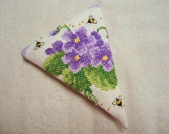 Purple Violets and Bees Scissor Case