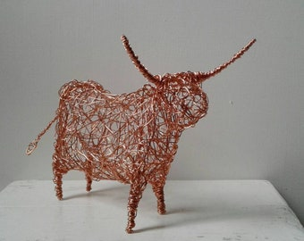 Mr Longhorns.  Copper wirework sculpture. Handmade and original.