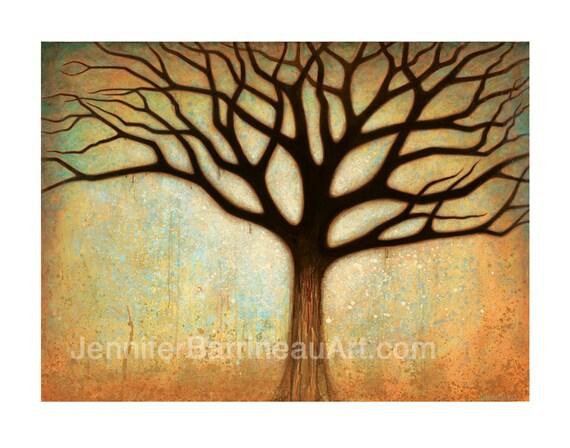 Earth Tone Colors Tree Wall Art Print by Jennifer Barrineau titled Spectakular Tree