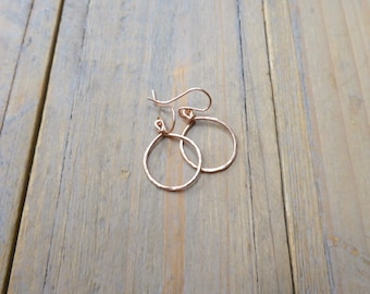 Rose Gold Hand Forged Circle Drop Earrings