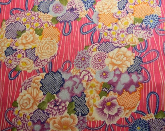 Oriental Nosegays on Pink Cotton Fabric