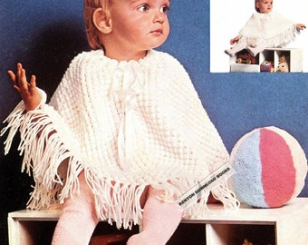 Vintage baby crochet poncho crochet pattern pdf 4ply baby poncho sweet baby poncho knitting pattern slips on quickly easily 11 28cm vintage pdf instant download pattern kenyon 1280 dt1010fo