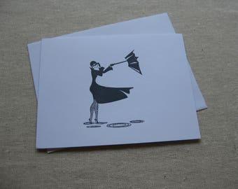 6 Handmade Windy Day blank notecard set