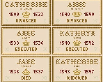 The Six Wives of Henry VIII - Set of Six Original Cross Stitch Ornament Charts