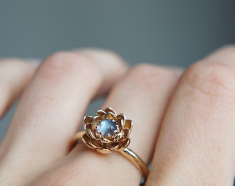 Moonstone engagement ring, flower engagement ring, yellow gold ring, unique engagement ring, proposal ring, lotus ring, floral jewelry, 14K