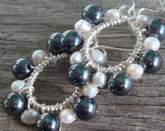 ENDLESS LOVE - Sterling Silver Wire-Wrapped Tear Drop Dangling Earrings  Pearl, Hematite, Sterling Silver June Birthday - Handmade by Dorana