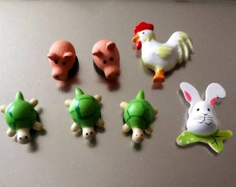 Set of 7 magnets fun animal themed
