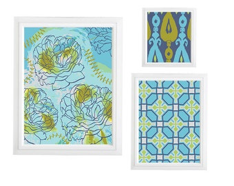 Roses Ikat and geometric pattern Collage Wall Art Gallery - Set of (3) - Prints - Custom CHOOSE your own size!!!green and blues Art Wall