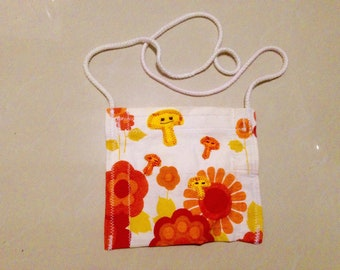 Recycled 70's Orange Flower Curtain Pouch Bag