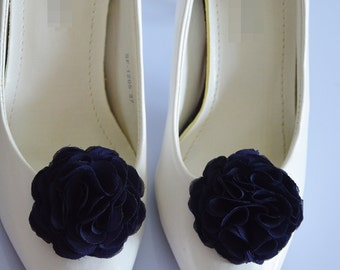 Navy Blue, Wedding Flower Shoe Clips, Bridal Shoe Clips, Flower for Shoe, Bridesmaid, Shoe and Shoe Clips, Shoe Accessories, Flower Clips