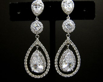bridal Jewelry bridal earrings wedding earrings wedding jewelry Clear white teardrop cubic zirconia teardrop cz post  circular cz connectors