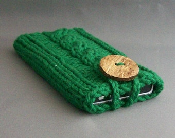 Cell Phone Case Forest Green Handknit Cotton Fabric with Crocheted Loop Coconut button iPhone, Samsung Galaxy or Galaxy Note