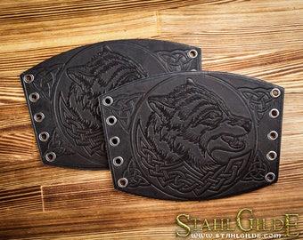 Leather Cuff LARP Bracers Archery arm guard Larp Armor Viking armor Wolves Celtic Spiritual Vikings Amulet with Celtic design: a pair
