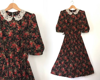 lace peter pan collar dress black floral dress librarian dress vintage 80s lace collar dress babydoll dress flare pleated dress red floral L