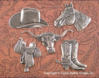 Antiqued Sterling Silver Plated Large Western Charms - set of 10 pieces