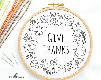 Give thanks, autumn wreath, sampler. Digital hand embroidery pattern , PDF instant Download