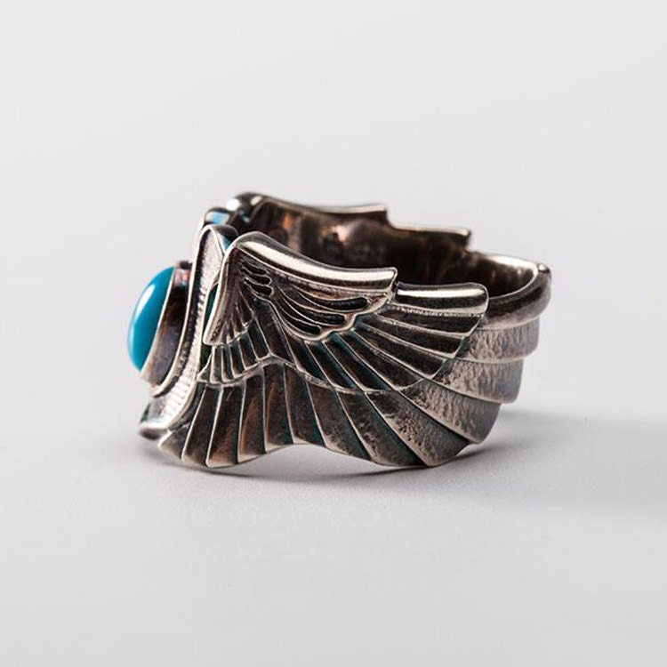 Fabulous Silver Wing Ring | Angel Wing Ring | Horseshoe Ring | Turquoise  KD78