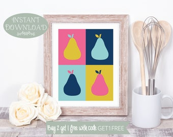 Printable Art, Kitchen Printable, Kitchen Wall Art, Pears Printable, Pears Wall Art, Printable, Kitchen Print, Pears Print, Instant Download