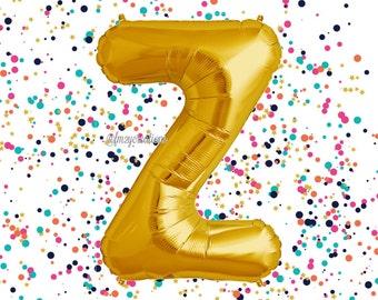 "Letter Balloon Gold 40"" / Wedding Balloons / ""Z"" Mylar Balloon / Metallic Gold Letter Balloons / Gold Number Balloon / Gold Balloon"