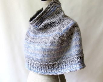 Women Cowl Capelet / Shawl - Blue Gray Storm