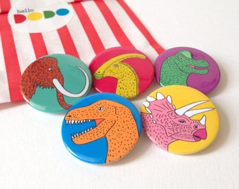 Dinosaur Button Badge Pack, kids party bag fillers, dinosaurs buttons, pinback badge set, Jurassic Park button badges, fun dinosaur brooch