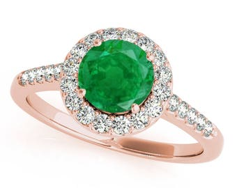 1.20 Ct. Halo Emerald And Diamond Engagement Ring In 14k Gold