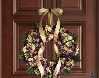 Purple Hand Blended Hydrangea Wreath | Fall Wreaths | Front Door Wreaths |  Wreaths For Door | Summer Door Wreath