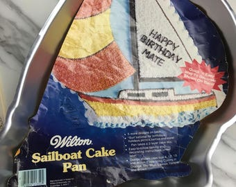 1984 Vintage Wilton SAILBOAT CAKE PAN - Complete with Insert & Instructions for Baking and Decorating - 6 Designs - Safe Harbor, Lighthouse