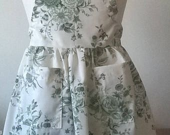 Girls Cream and Green Floral Apron