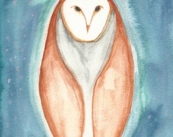 Tecolote~ Owl~ Print of Orginal Watercolor Painting