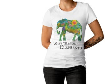 Elephant Shirt / white Shirt Elephant print / Elephant gift / Ladies Elephant T-Shirt Save the last Elephants / animal welfare