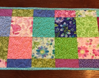 Floral Quilted Table Runner, Pink Green Purple Blue Table Runner, Patchwork Quilted Table Runner, Spring Summer Table Runner,