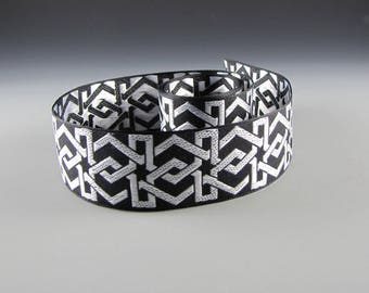 BLACK WHITE Geometric Jacquard Ribbon Guitar STRAP Pet Collar