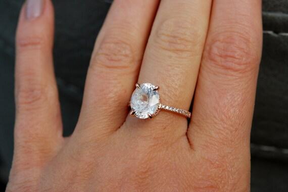 4.12ct White Sapphire Ring, White Sapphire Engagement Ring, White Sapphire Ring, Oval Cut Engagement Ring, 14k Rose Gold