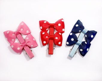 Set of Mixed Colored Polka Dotted Hair Clips, Hair Bow with Polka Dots for Babies, Dots Hair Accessory,  Red Blue Pink Hair Clips, (QTY 3)