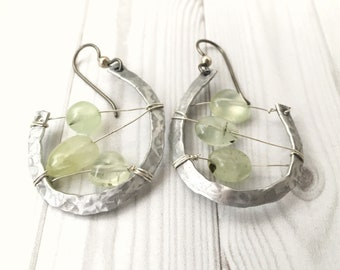 Green earrings, pendant earrings, silver earrings, green gemstone earrings, gemstone earrings, Half moon earrings, light earrings.