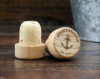 Personalized Wine Stopper, Nautical Wedding Gift, Beach Theme Wedding Favor, Monogrammed Anchor Favors, Wood Wine Cork, Anchor Gift Idea