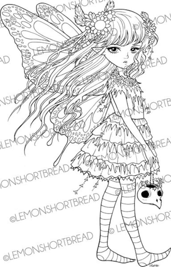 digital stamp moss fairy skull goth fantasy digi download. Black Bedroom Furniture Sets. Home Design Ideas