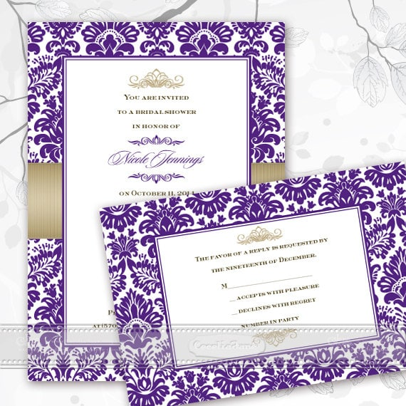 bridal shower invitations, purple bridal shower invitations, purple wedding shower invitations, bridal shower thank you cards, IN379