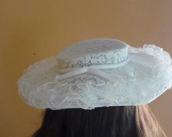 1940s-50s Vintage White Lace Hat