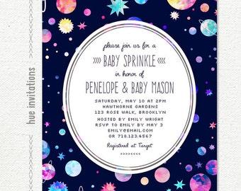 space themed baby sprinkle invitation, modern girls baby sprinkle printable invite, planets stars watercolor galaxy, 5x7 jpg pdf n5