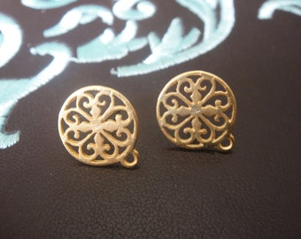 2 pc. Vermeil, 18k gold over 925 sterling silver filigree post earrings, MATTE vermeil post earrings, gold filigree post earrings