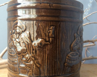 VINTAGE DECOR...brown glazed stoneware pot container ~ cottage chic kitchen planter ~ gift guide