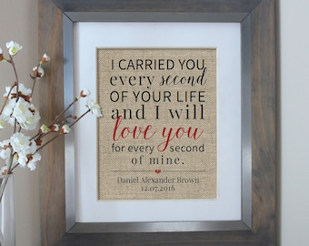 I Carried You Burlap Print | Child Loss, Infant Loss, Miscarriage, Sympathy Gift | Memorial | Pregnancy Loss Memorial | Child Loss Gift