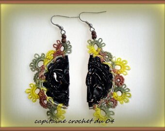 pair of earrings/jewelry/lace tatting/recycling /capsules nespresso/handmade /dentelle tatting/yellow, Brown, green