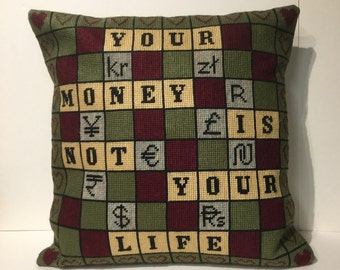 Money, money needlepoint, currency cushion, pillow, currency, unique designer green cream
