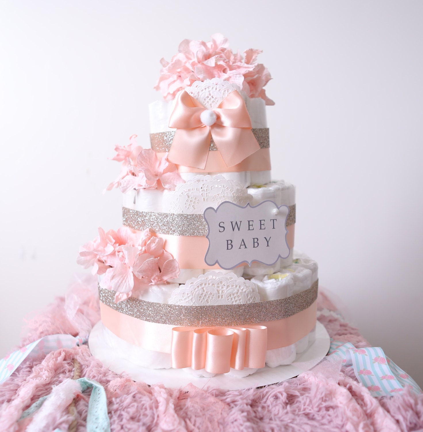Gold & Blush Pink Diaper Cake for baby girl Baby Shower
