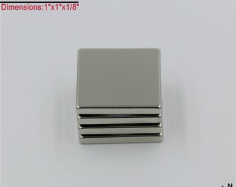 "4-Ct (Free Shipping) 1""x1""x1/8"" Rare Earch Neodymium N40 NdFeB Block Magnets - True N40 (Very Powerful Magnets)"