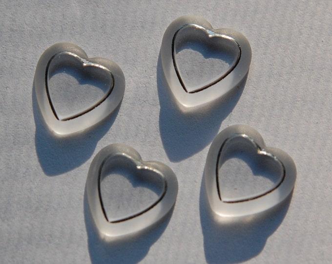 Vintage Matte Clear Glass Heart Cabochons Silver Trim cab246